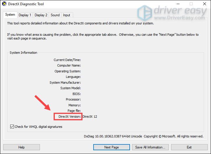 DirectX Diagnostic Tool check DirectX version