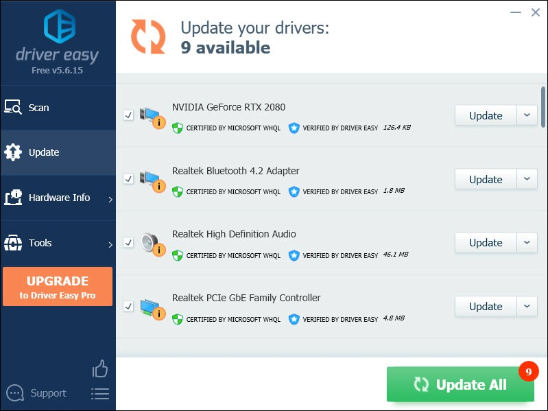 update device drivers automatically with Driver Easy