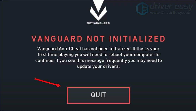 VANGUARD NOT INITIALIZED error