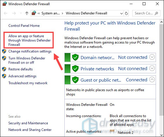 allow an app through windows defender firewall