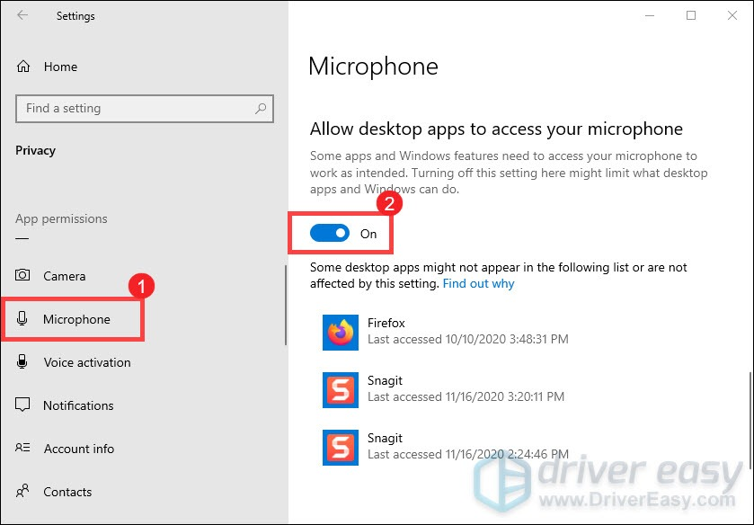 allow desktop apps to access your microphone VALORANT