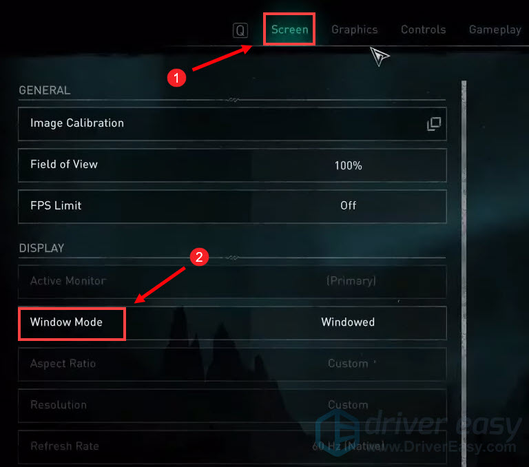 change Window Mode to fix Assasin's Creed stuttering on PC