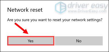 confirm to reset network settings