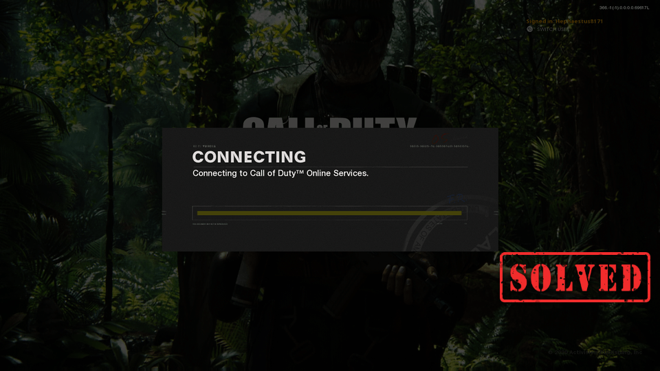 "how to fix Call of Duty: Black Ops Cold War stuck on ""Connecting to Call of Duty Online Services"""