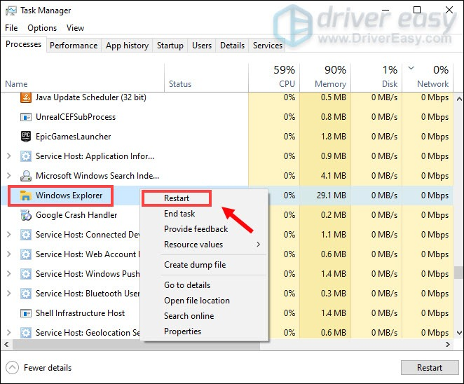 restart Windows Explorer to fix Drag and drop not working issue