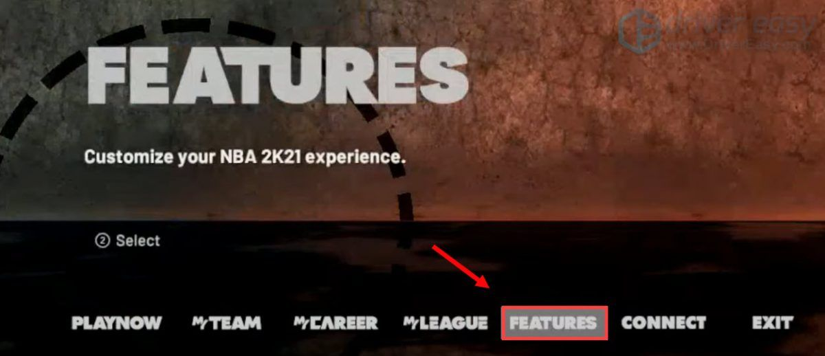 select FEATURES to customize NBA 2K21 experience to fix the lag issue