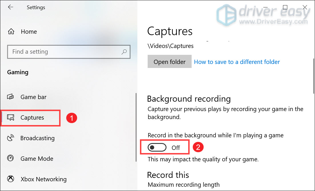 turn off record in the background option