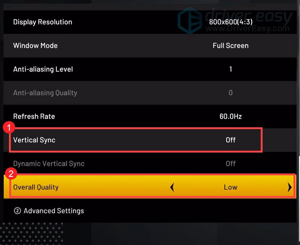 turn off vertical sync and set overall quality to low NBA 2K21