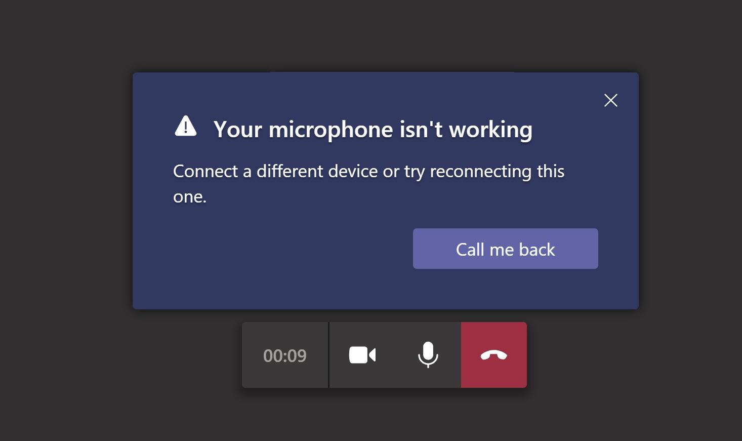 Microsoft teams microphone not working