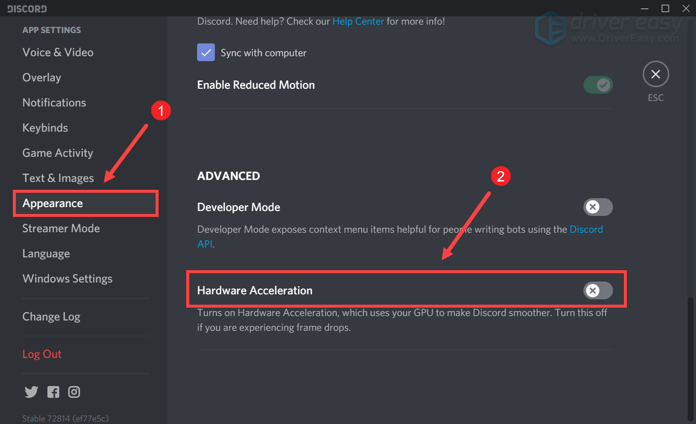disable hardware acceleration Discord