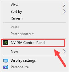 oopen NVIDIA Control Panel