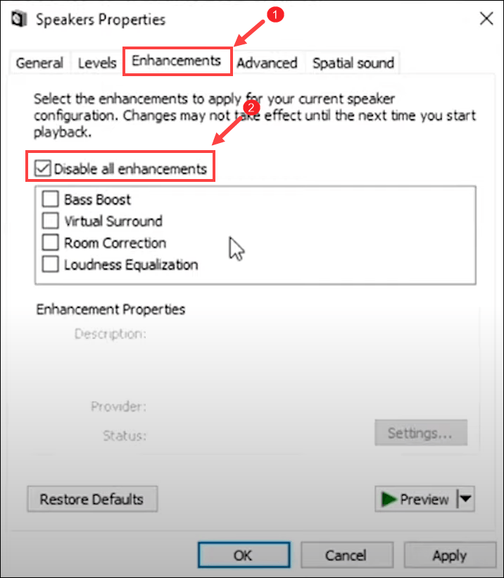 disable all enhancements speaker