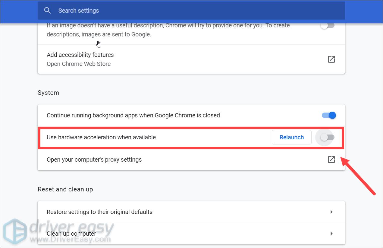 disable hardware acceleration Google Chrome