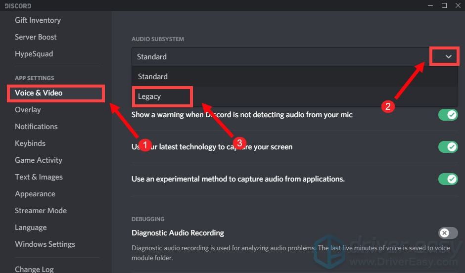 use Legacy Audio Subsystem Discord can't hear anyone