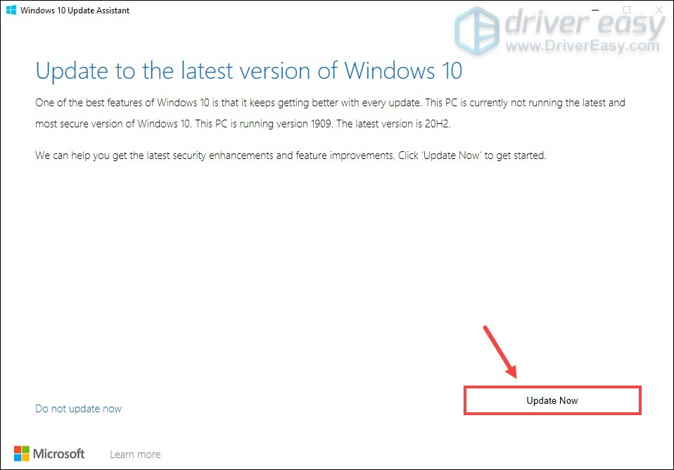 use windows 10 updates assistant to update to version 20H2