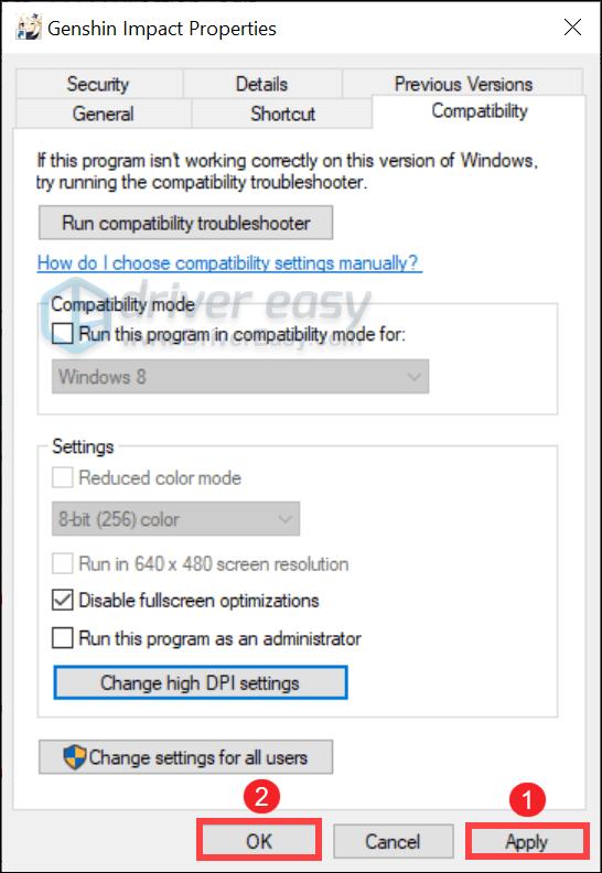 disable fullscreen optimizations Genshin Impact
