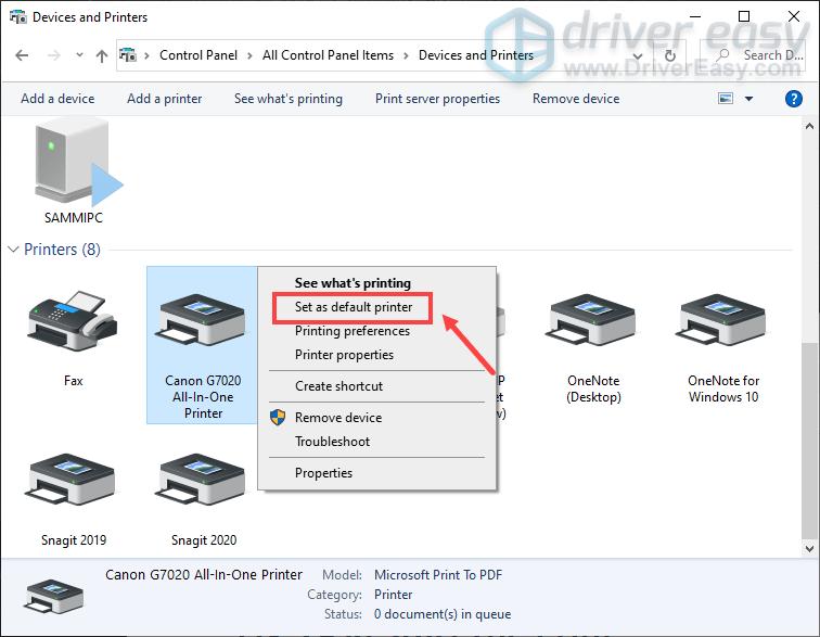 set Canon printer as the default printer