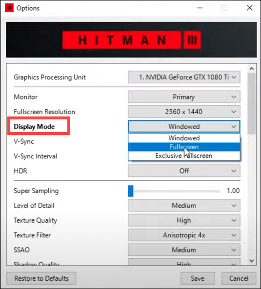 try a different display mode in HITMAN 3