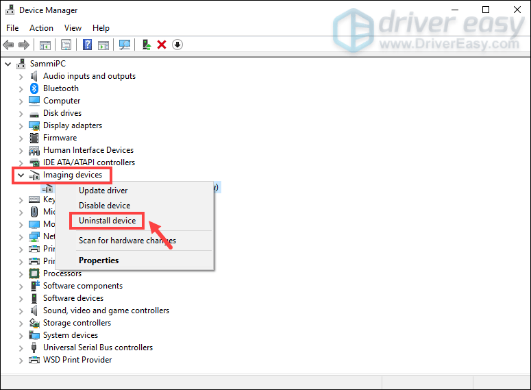 uninstall drivers via Device Manager