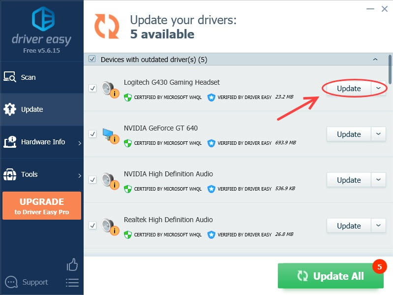 update logitech usb headset driver