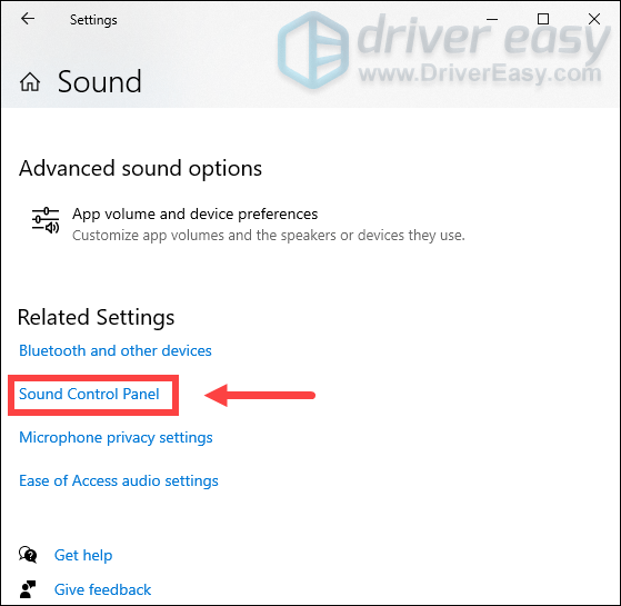 Open Sound Control Panel