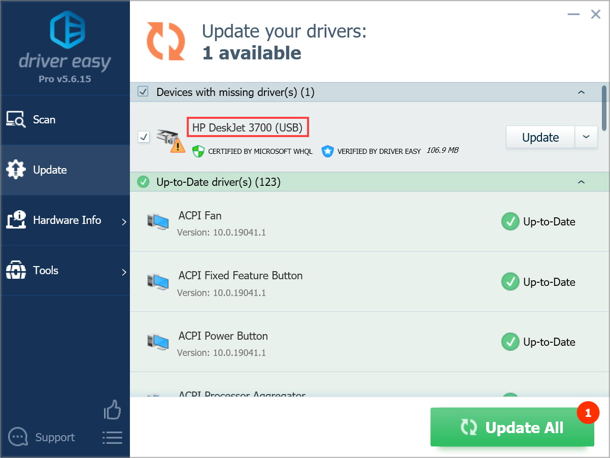 Driver Easy Update all drivers