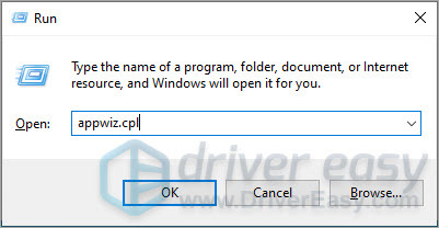 Open Programs and Features window in Control Panel