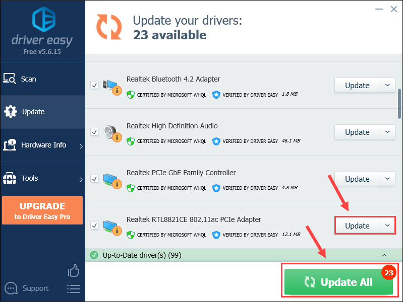 update network driver with driver easy