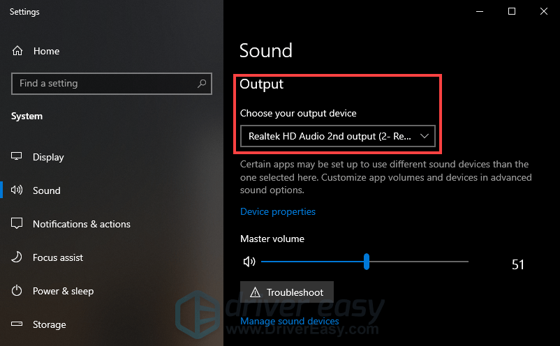 check if the output device is set correctly
