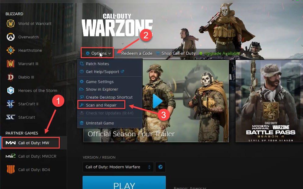 repair game files Call of Duty Warzone