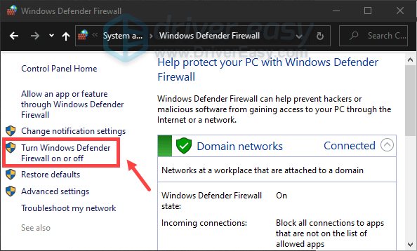 disable windows firewall through the Control Panel