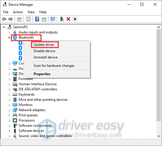 update driver via Device Manager