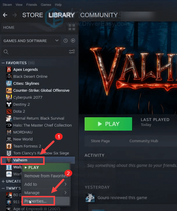 verify integrity of game files Valheim