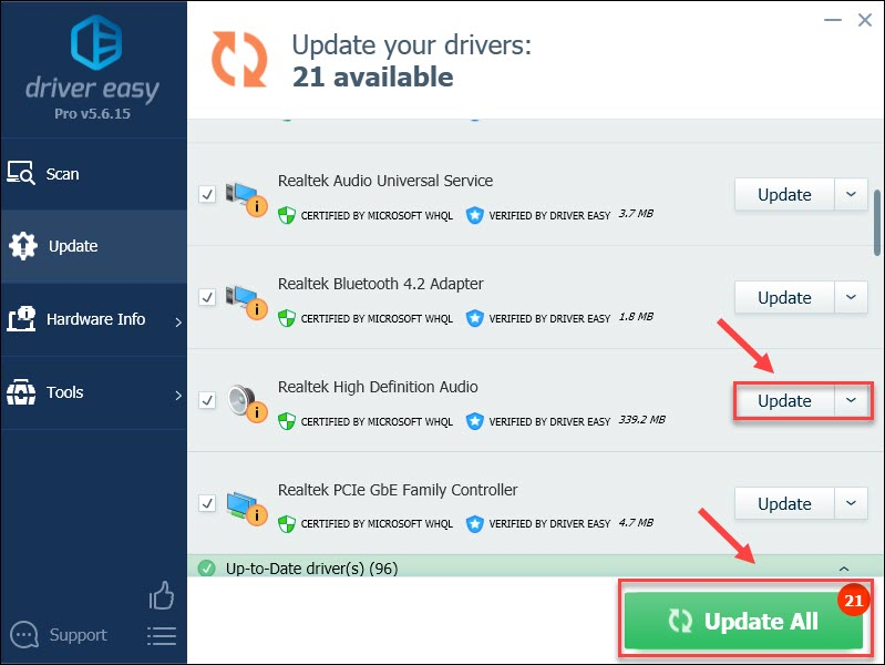update audio driver with Driver Easy