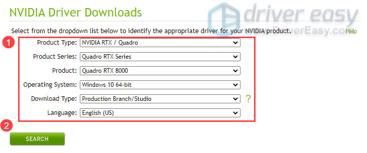 Download latest Nvidia Quadro RTX 8000 driver manually