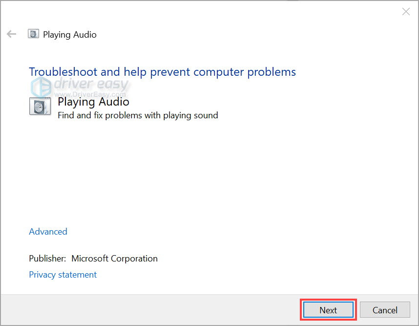 Run Windows audio troubleshooter 1