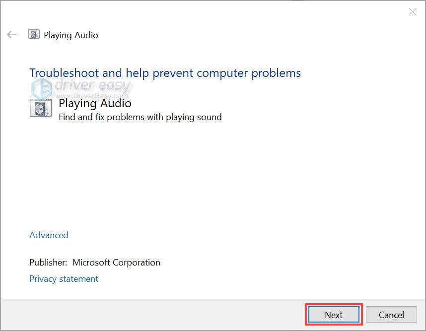 Run Windows audio troubleshooter 1