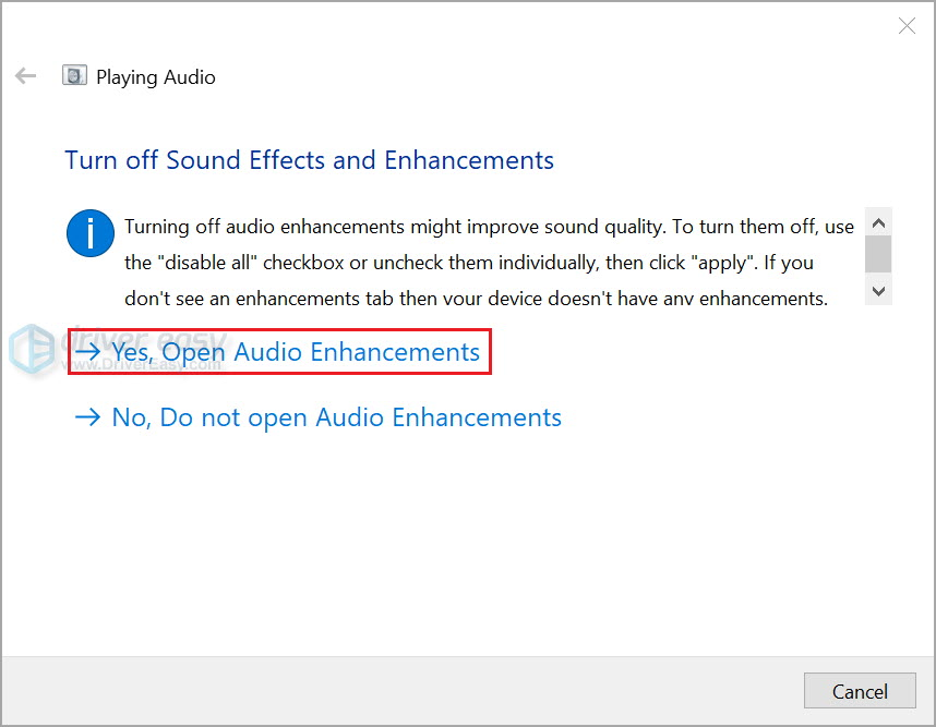 Run Windows audio troubleshooter 4