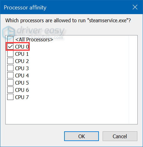 Set affinity Task Manager