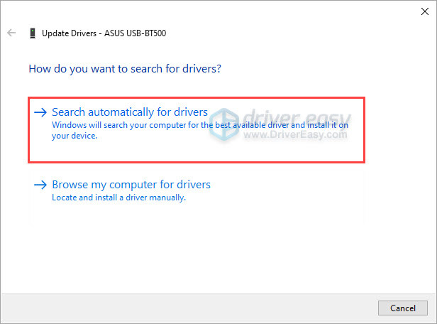 Update ASUS USB-BT500 manually in Device Manager-Search automatically for drivers