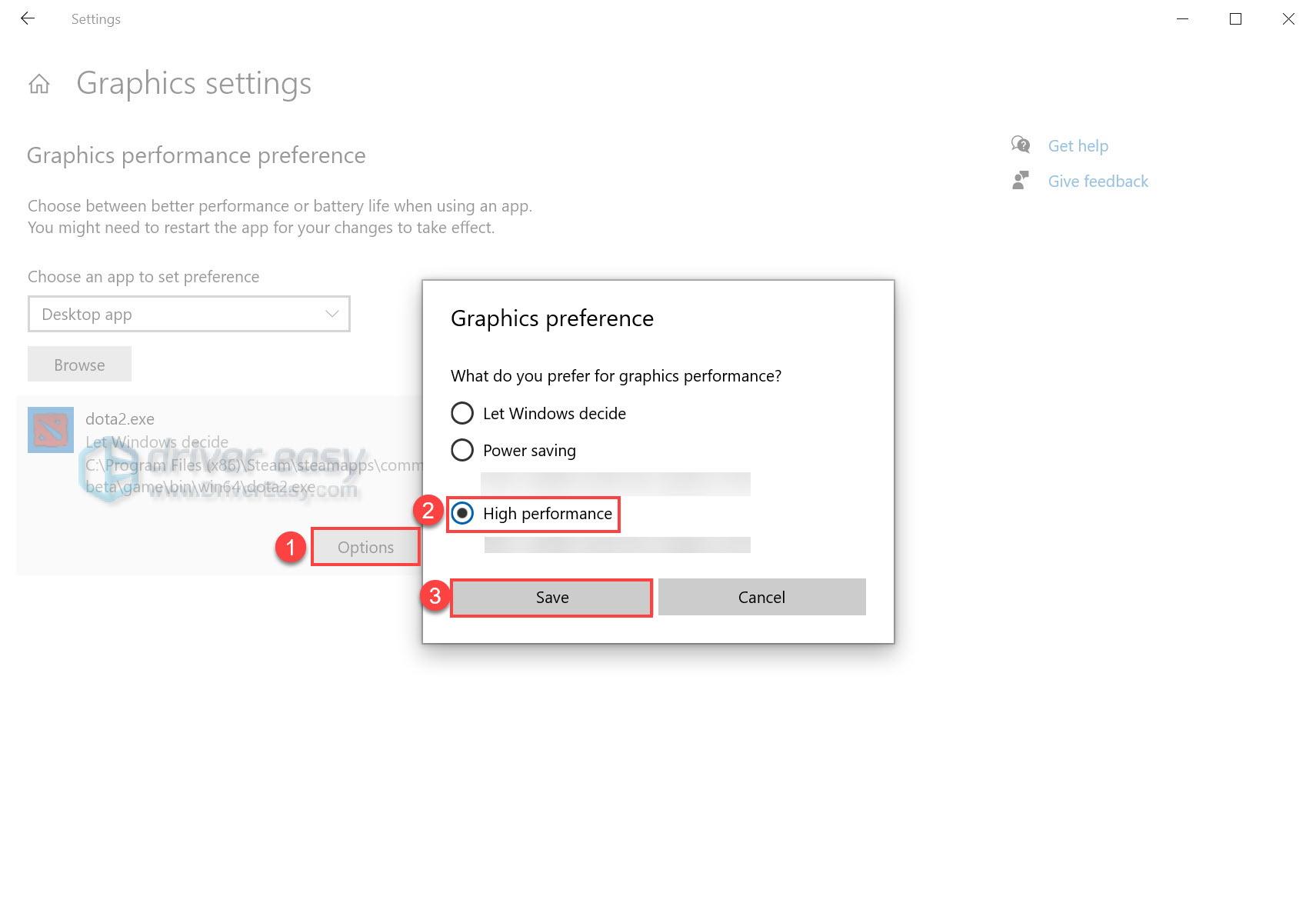 dota 2 graphics settings Windows 10 high performance