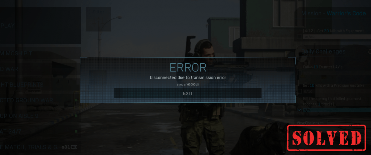 Modern Warfare disconnected due to transmission error how to fix