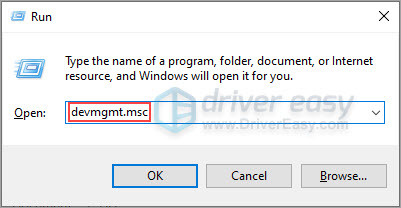 run devmgmt.msc to open device manager