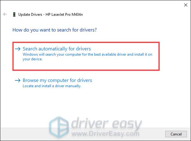 update printer driver via the Device Manager