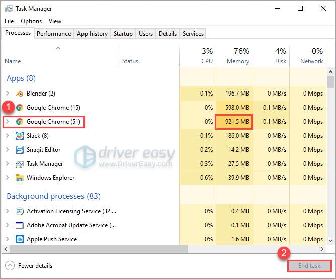 Close CPU / memory hogging applications