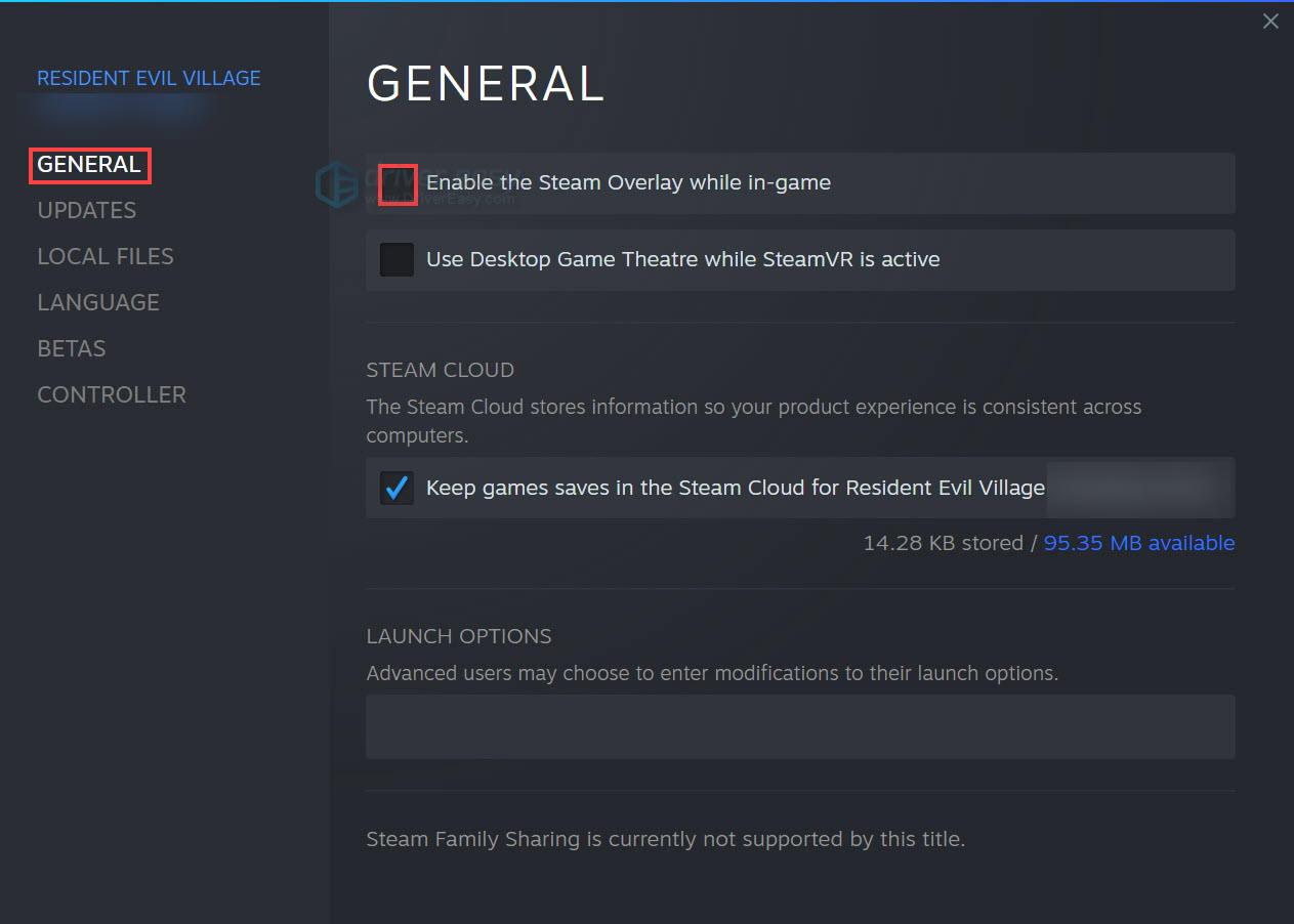 Disable the Steam Overlay for Resident Evil Village