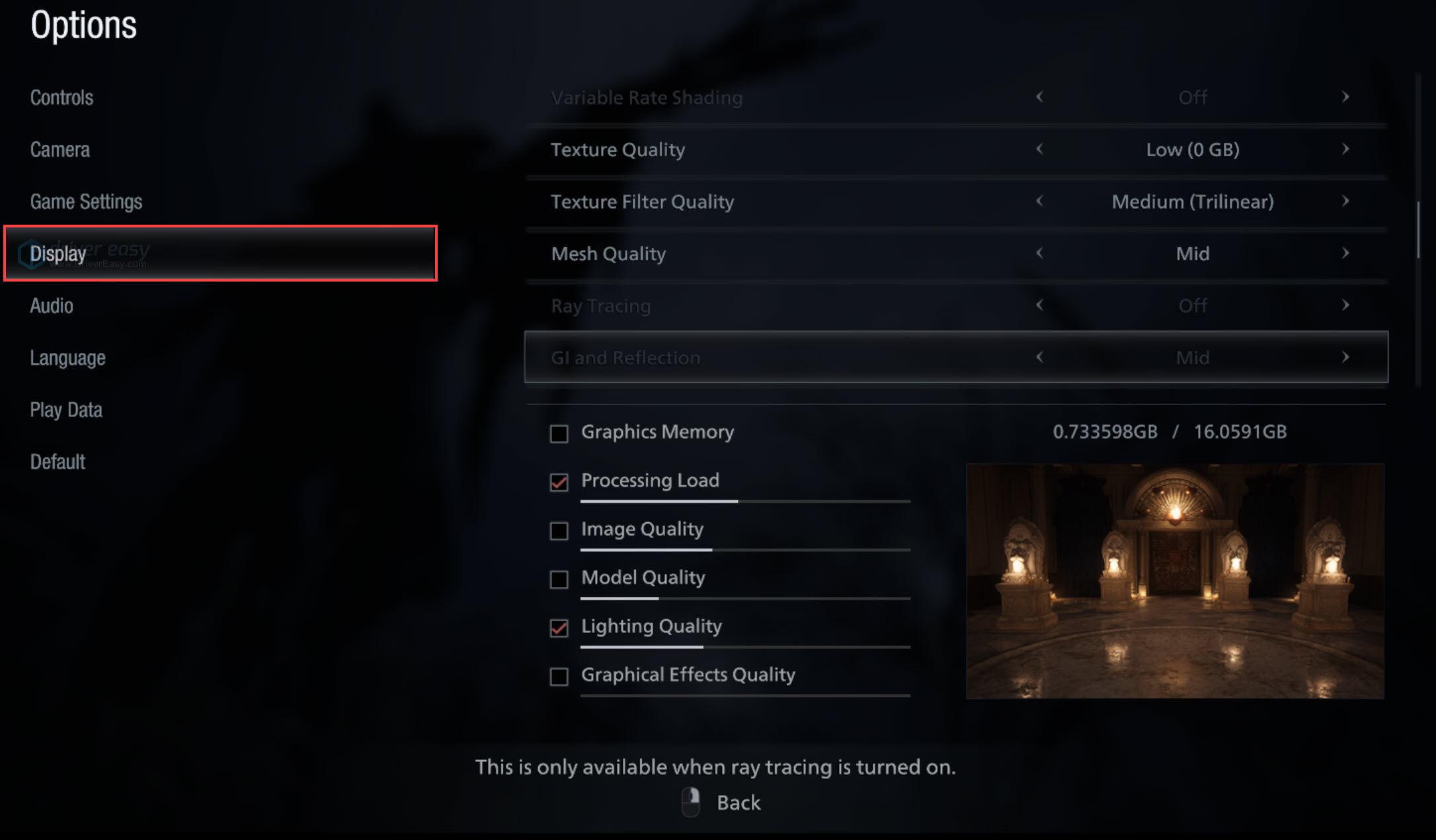 Resident Evil Village in-game graphics settings