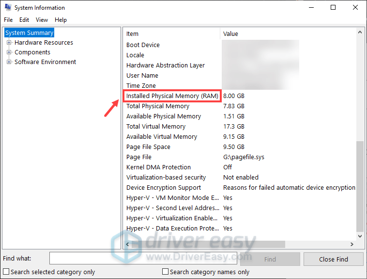 how to check RAM