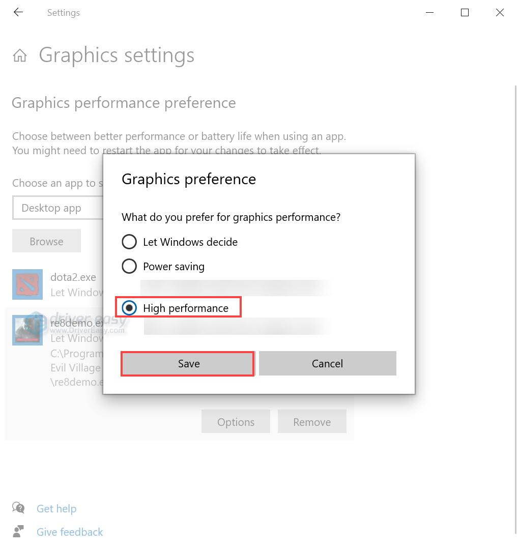 Windows 10 graphics settings high performance
