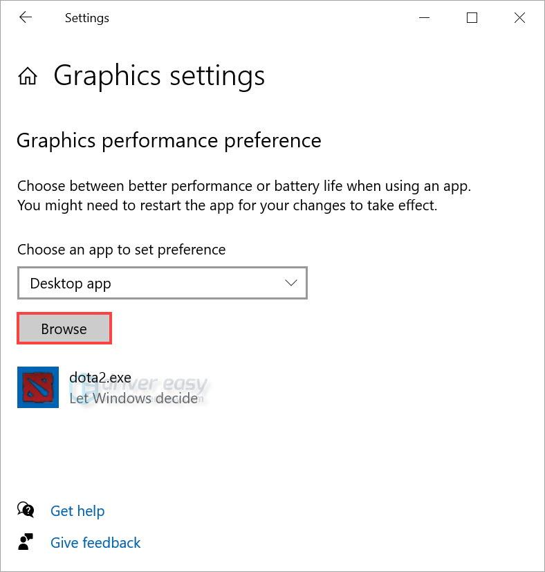 Windows 10 graphics settings
